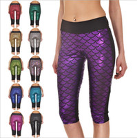 Compra Collant Di Pesci-Leggings Mermaid Fish Scale Jeggings Yoga Calzamaglia fitness Moda Slim pantaloni a matita Plus Size Skinny Capri Pants Pantaloni corti sexy B2628