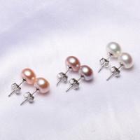 Wholesale Pearl Alphabet - 9MM Freshwater Pearl Stud Earrings 925 Sterling Silver plated Jewelry Ball Shape Pear charml Women Stud Earrings