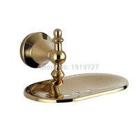 Wholesale golden dishes - 2017 Wall Mounted Modern New Bathroom Polished Golden Brass Soap Dish Holder Bathroom Party suppies Hot