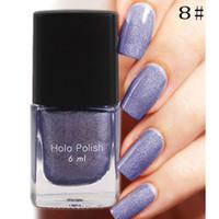 Wholesale Gel Nail Polish 12 - Wholesale-Hot Sale 6ml 12 Color Long Lasting Nail Polish Nail Hologram Holographic Polish Holo Nail Polish Holo Gel Nail Art Polish #81661
