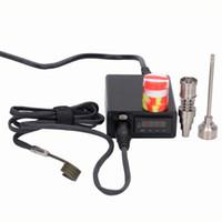 elektrischer nagelkoffer großhandel-Portable Case Elektrische Dab Nagel TI Titanium E D domeless Nails elektrische Dabber Temperaturregelung Digital Box elektrische Dab Rig Spule Heizung