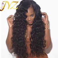 Wholesale natural curly human hair wigs for sale - Pre Plucked Lace front wigs For Black Women Human Hair Lace Wigs Medium Size Cap Full Lace Wigs