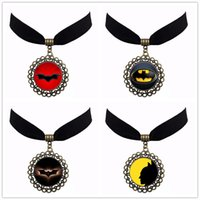 Wholesale Bronze Choker - 2017 Newest Free Shipping 4 Style Vintage Bronze Statement Velvet Choker Steampunk Bat Batman Hero Chokers Fast Delivery NS123