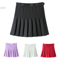 Polyester black tennis skirts - 2017 Sexy Women High Waist A Line Pleated Skirt Tennis Solid Mini Skirt Above Knee Casual White Wine Red Purple Black