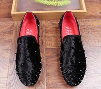 2017 New Men's Studded Rivet Spike Loafers Casual Chaussures Homicide Homecoming Prom Flats Robe en cuir véritable Robes de mariage 16
