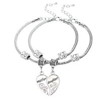 Wholesale Girls Silver Charm Bracelets - Wholesale-2PCS Silver Plated Mother Daughter Broken Heart Bracelet Bangle Mom Women Girl Femme Charm Statement Jewelry Party Wholesale