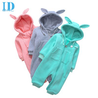 Wholesale Green Baby Girl Rompers - IDGIRL Baby Boy Clothes Baby Rompers Newborn Clothing One Piece Baby Girl Jumpsuit Rabbit Hooded Children Clothes MR060