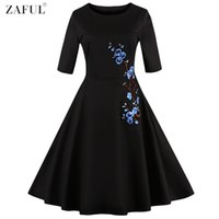 Wholesale Empire Plum - Wholesale- ZAFUL Women Simple Plum Flower Embroidery Vintage Dress Plus size S~4XL Feminino Vestidos O Neck Black Retro Swing Party Dresses