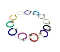 Wholesale Goth Hoop Earrings - 2017 Fashion Multi Colors Clip on Nose Lip Ear Fake Stud Earrings Punk Goth Septum False Hoop Navel Body Piercing Jewelry