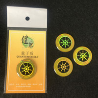 Wholesale Energy Sticker - Golden Round Mobile Phone Sticker with Negative Ion Anti Radiation Shield Health Energy Phone Tags Quantum Shield