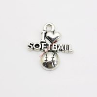 Wholesale Craft Handmade Pendant - Wholesale-20pcs Antique Silver Plated I Love Softball Charm Pendants for Bracelet Necklace Jewelry Making DIY Handmade Craft 20x20mm