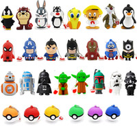 16gb bâtons usb achat en gros de-USB 2.0 Flash Memory Stick Pen Drives 1 Go 2 Go 4 Go 8 Go 16 Go 32 Go PVC moins cher Cartoon Pendrives Cadeau Promotionnel 1000 Designs