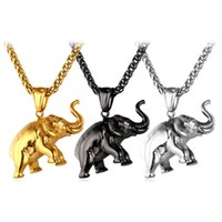 Wholesale Elephants Charms - U7 Lucky Accessories Elephant Pendant Necklace Men Women Jewelry Charm Pendant Stainless Steel Gold Plated Animal Jewelry Perfect Gift