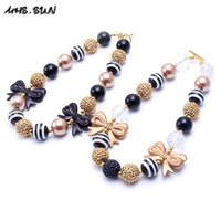 Wholesale beaded jewelry designs - MHS.SUN Newest Black Gold Design 2PCS Necklace Birthday Party Gift For Toddlers Girls Beaded Bubblegum Baby Kids Chunky Necklace Jewelry