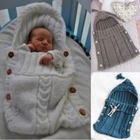cobertores de recém-nascidos venda por atacado-Sacos de Dormir Macio Do Bebê de Algodão Envelope de Tricô para a Criança Recém-nascida Swaddle Envoltório Cobertores Stroller Footmuff Trappelzak Franja