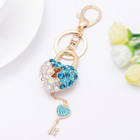 Wholesale Metal Charms Pendant Heart Lock - Bling Bling Rhinestone Loving Heart Keys Metal Keychain Keyring Car Keychains Purse Charms Handbag Pendant