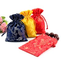 Wholesale Chinese Sachet - Cheap Thin Dragon Small Gift Bag Drawstring Silk Brocade Jewelry Storage Pouch Candy Tea Favor Bags Spice Sachet Cloth Packaging