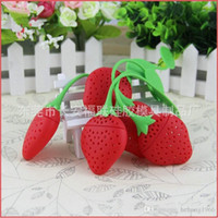 Wholesale Strawberry Boxes Wholesale - Silicone Tea Infuser Filter Red Strawberry Shape Strainer Non Slip Handle Teas Leaf Silica Gel Strainers New Design 1 5fr R