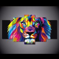 tier-ölgemälde poster großhandel-5 Teile / satz Gerahmte HD Gedruckt Bunte Lenden Tier Bild Wandkunst Leinwand Home Decor Poster Abstrakte Leinwand Ölgemälde
