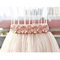 Wholesale Cheap Leather Skirts - Wholesale- Sweet Belts For Women Skirts 2016 Elastic Flowers Crystal Beads Fashion Women Cheap Sashes Women Accessories