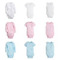 Wholesale Wholesale Infant Boy Clothing - 9 Designs Baby Rompers JumpSuit Summer Infant Boys Girls Long Short Sleeve Sleeveless Triangle Onesies Clothing 100% cotton O-neck