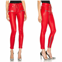 Wholesale Designer Women S Flats - 2017 spring fashion punk leather pants sexy women's pencil pants drawstring brand designer skinny pants red