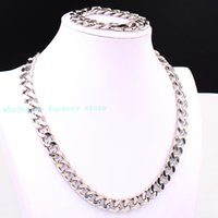"Wholesale mens wide stainless steel bracelets - Cool Mens Huge Strong Link 10mm 15mm Wide Silver Cuban Curb Chain Necklace Bracelet Stainless Steel Jewelry Set ""U"" Shape Clasp"
