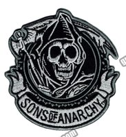 "Wholesale Soa Wholesaler - Fashion SOA Reaper Crew Embroidered Iron On Patch Motorcycle Heavy Metal Punk Applique Badge Front Patch 3.5"" G0448 Free Shipping"