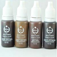 микропигментные косметические цвета оптовых-Новый 4 цвета перманентный макияж чернила Bio-Touch микро пигмент косметический 15 мл/бутылка комплекты Бесплатная доставка