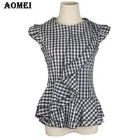 Wholesale Plaid Women S Blouse - Lady Summer Tops Sleeveless Black Plaid Blouses Shirts Ruffles Trim Woman Vintage Gingham Blusas Plus Size Retro Style Peplum