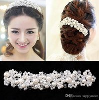 Wholesale Wholesale Tiaras Hair - New Party Ball Wedding Bridal Accessories Pearl Rhinestone Tiara Headband Hairband bridesmaid Hair Jewelry Wholesale Jewelry