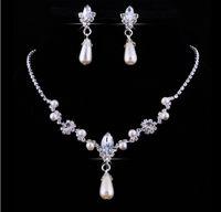 Wholesale Wholesale Jewelry Sets Purple - Crystal Pearl Bridal Jewelry Luxury Waterdrop Rhinestone Pearl Stud Earring Necklace Set Women Wedding Party Jewelry Set for Bridesmaid