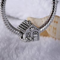 Wholesale smallest glass beads - Fits Pandora Bracelets 925 Sterling Silver Small Warm House Charms Loose Beads For Wholesale DIY European Necklace Jewelry