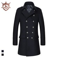 Wholesale Trench Coat Collar Up - Wholesale- men's wool coat men long double breasted turn down collar thick warm woolen winter trench coats and jackets 2016 new fashion