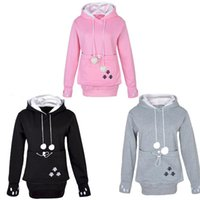 Wholesale Dog Pouches - Raodaren Women Cat Lovers Hoodies with Cuddle Pouch Dog Pet Hoodies for Casual Kangaroo Pullovers with Ears Sweatshirt Drop Shipping