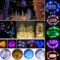 Wholesale Thin Wire String Lights - 2M 20LED Button Cell Powered Silver Copper Wire Mini Fairy String Bright Lights Waterproof LED Strings OOA3724