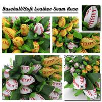 Wholesale Rose Wedding Ideas - baseball softball gifts rose Softball&Baseball Flowers Made From Quality Leather Softball Rose Gift Idea baseball rose