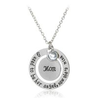 Wholesale I Love Mom Dad - I Used To Be His Her Angel Now He's She's Mine Dad Mom Crysal Memorial Necklace,In Memory Of Mothers Father's Day Gift