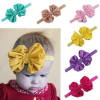 Wholesale Childrens Tiaras - Fashion Infant Hair Bow Flower Headbands Baby Chiffon Bow Knot Headband for Girls Handmade Elastic Hairbands Childrens Classic Tiara Hor