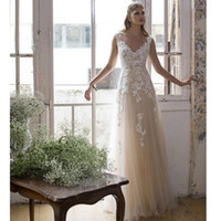 Wholesale Sexy Clothes Line - Sexy Lace Beach Wedding Dresses 2017 V-neck A-line Tulle Peach Wedding Dress Vintage Sexy Country Bridal Gowns Casamento Online Clothing