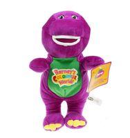ben anime seviyorum toptan satış-Yeni Satış SıCAK Barney Dinozor 28 cm Sing Seni SEVIYORUM şarkı Mor Peluş Yumuşak Oyuncak Bebek