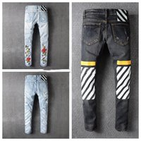 Wholesale Rose Swags - OFF WHITE Rose embroidery Denim pants Mens Fashion Jeans Hip Hop Jean Slim Fit Homme Pants Dnime Frayed Hole Edging Hombre off-white swag
