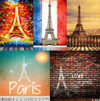 Wholesale Computer Backdrops Photos - 5X7FT Romantic Eiffel Tower Paris Vinyl Backdrop Background For Kid Photos Studio Computer Printed Photography Senior Backgrounds Backdrops