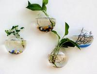 vasos de parede venda por atacado-New Pendurado Vaso De Flor De Vidro Vaso De Terrário De Vidro Tanque De Peixes De Parede Aquário Recipiente Home Decor