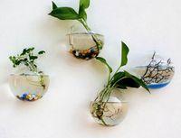 aquarium vase achat en gros de-Nouveau Hanging Pot De Fleur En Verre Ball Vase Terrarium Mur Fish Tank Aquarium Conteneur Home Decor