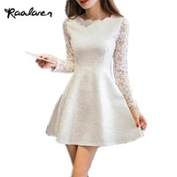 Wholesale Korean Party Dresses Women - Raodaren Spring Summer Autumn Women Lace Casual Dress Long Sleeve Korean Party Dresses Vestido White Black Pink Mini Dress
