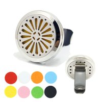 Wholesale Essential Orange Oil - Car Air Freshener 316L Stainless Steel Orange Flower 30mm Magnetic Locket Aromatherapy Essential Oil Diffuser Vent Clip Auto Accessory