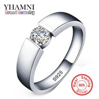 Wholesale Solid Silver Rings Men - 100% original Solid 925 Silver Rings Set 6mm 1ct CZ Diamant Engagement Rings Jewelry Wedding Rings for Women and Men D10