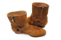 ingrosso donne in gomma gialla stivali-New Hot Wyatt Biker Chains Men BootsWestern Boot Flats Tacco a spillo Pelle scamosciata Anke Boots Zip laterale Moda uomo Stivali Plus Size 37-46 Commerci all'ingrosso