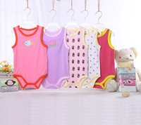 beyaz pamuklu bebek yaz takımları toptan satış-Toptan bebek rompers takım elbise yaz bebek romper onesies 100 pamuk kolsuz bebekler giysi erkek kız saf beyaz tam boyutları C454